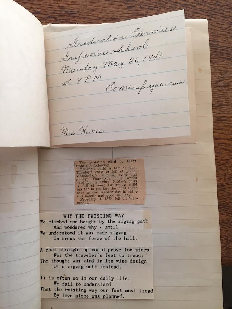 Handwritten graduation invitation for Grapevine School 1941.