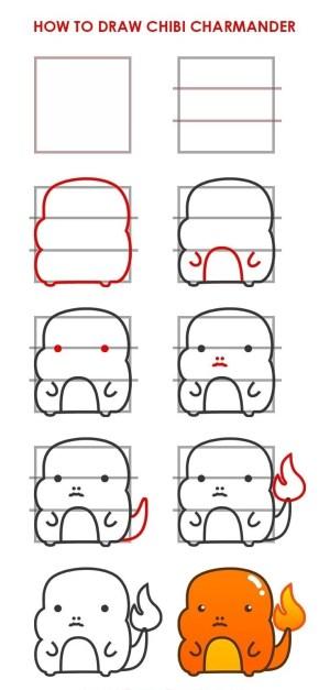 step easy drawing draw things cool beginners tutorials charmander chibi