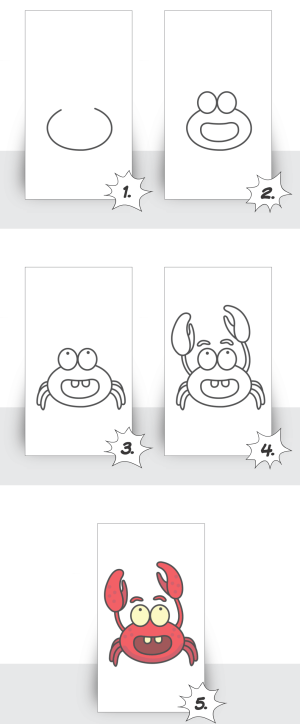 draw step easy things drawing tutorials beginners cool crab