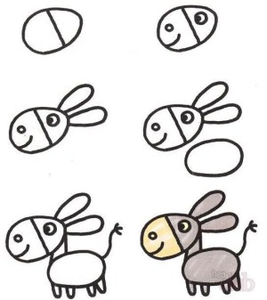 draw animals step easy drawing donkey pencil