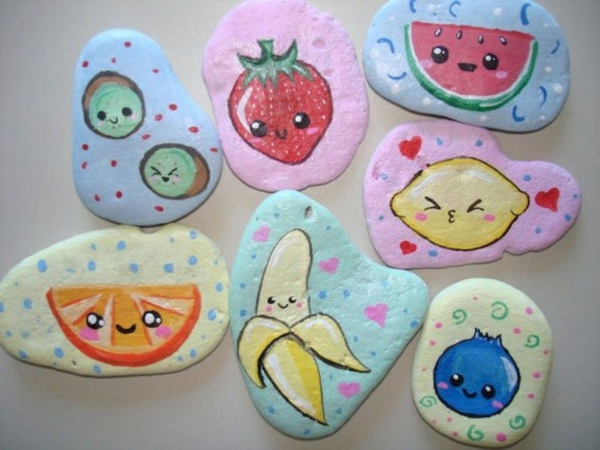 40 Awesome DIY Painted Rocks Fruits Ideas (32)