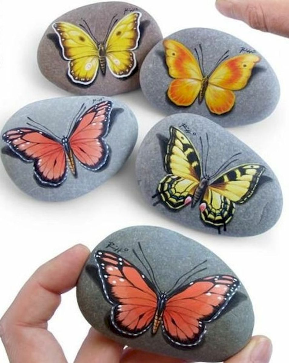 55 Cute DIY Painted Rocks Animals Butterfly Ideas (34)