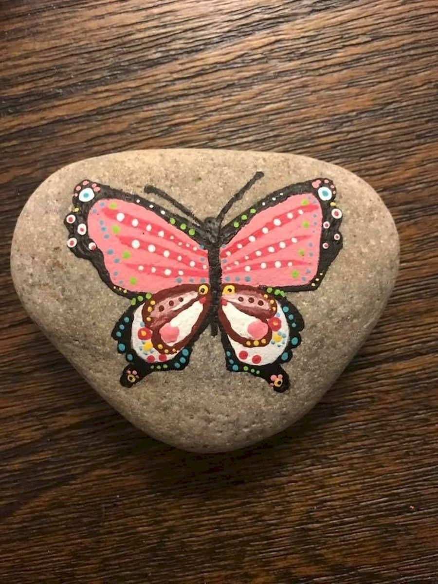 55 Cute DIY Painted Rocks Animals Butterfly Ideas (9)