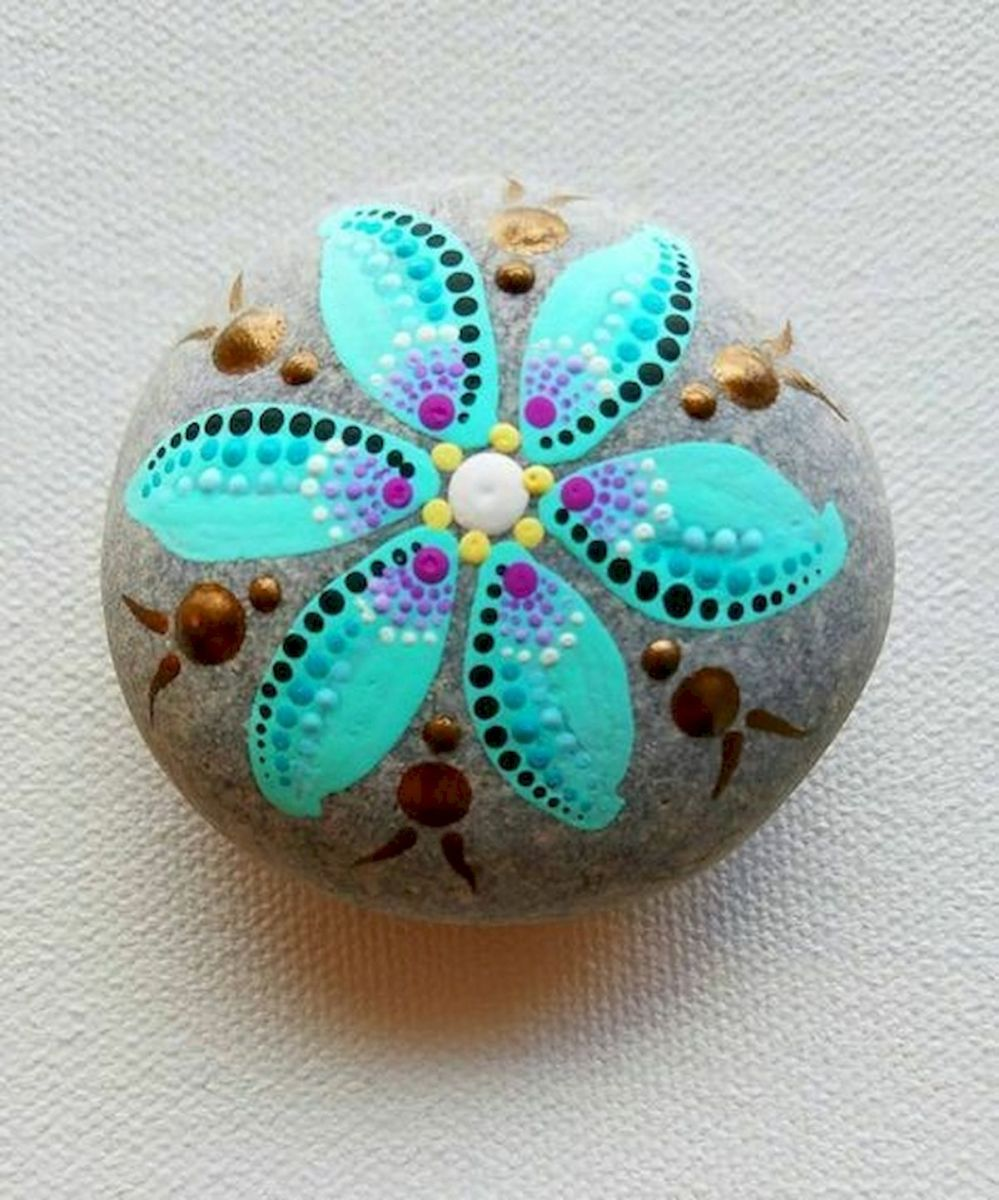 60+ Beautiful DIY Painted Rocks Flowers Ideas (4)