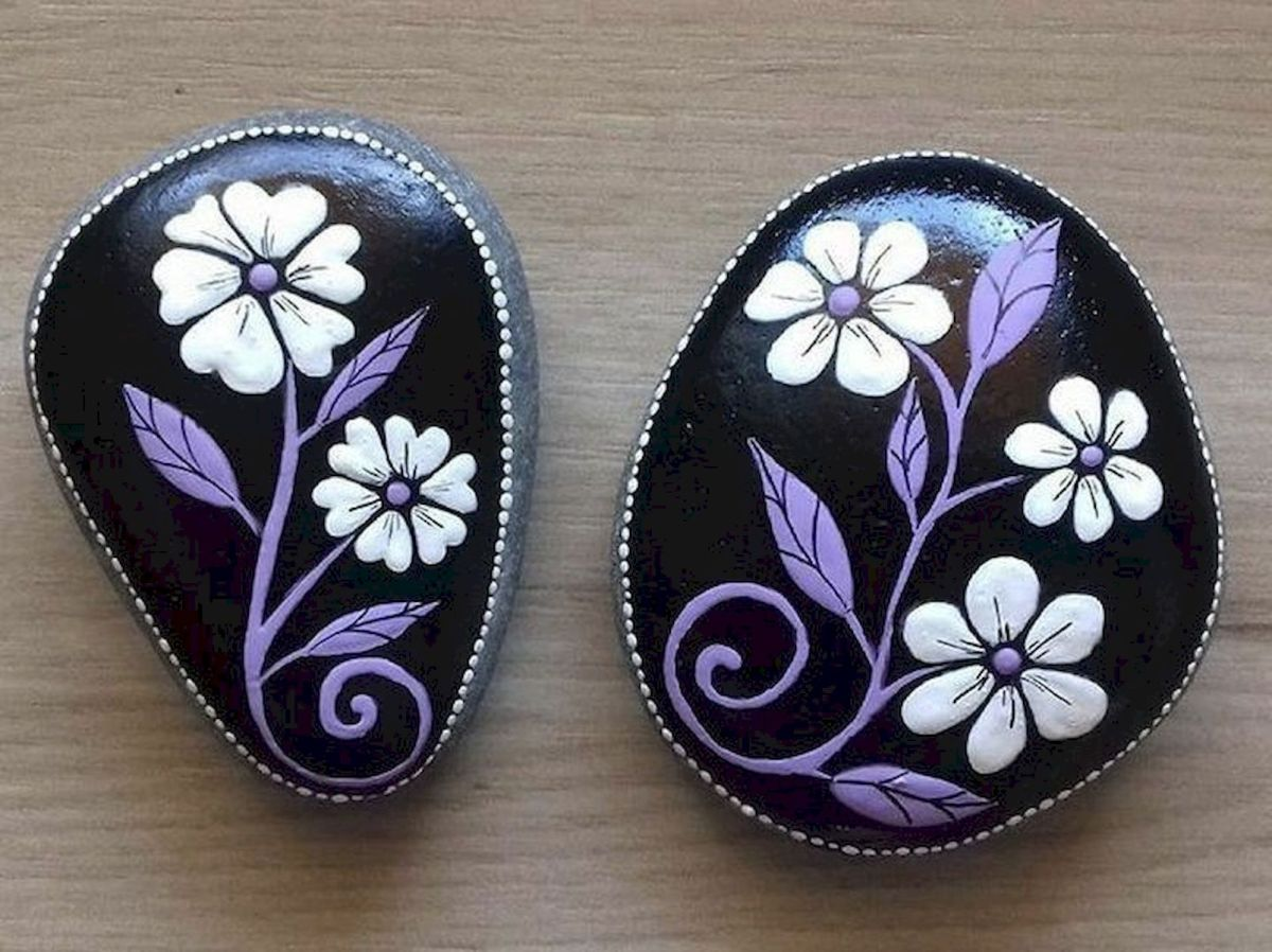 60+ Beautiful DIY Painted Rocks Flowers Ideas (62)