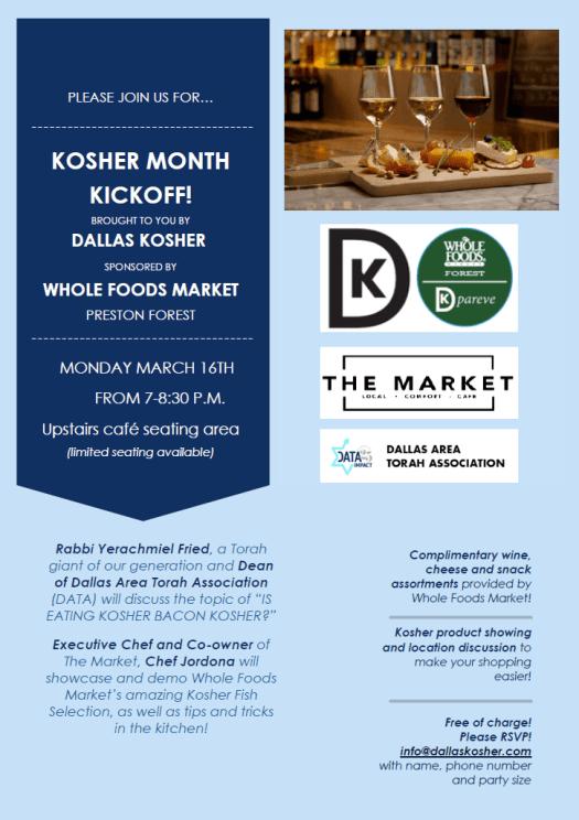 Dallas Kosher Announces Kosher Month 5780/2020 - March 12-April 19 1