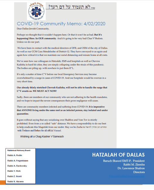 Warning from Dallas Hatzalah 1