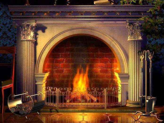 0-wood-burning-fireplace-ideas-decoration-in-interior-design-concrete-finishing-in-classical-interior-style-columns-grid-log-basket1 | Дровяные камины: обзор материалов и лучших идей (Часть первая)