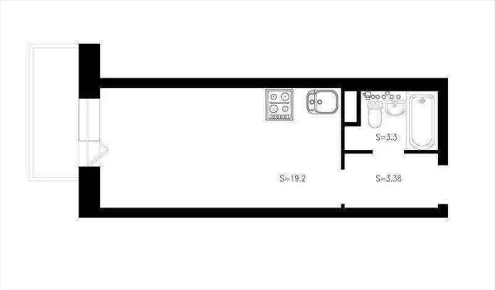 1-2-studio-apartment-plan-scheme-narrow-elongated-pass-through-room-small-space | Как сделать удобной студию площадью всего лишь 25 квадратных метров? Узкая и маленькая студия