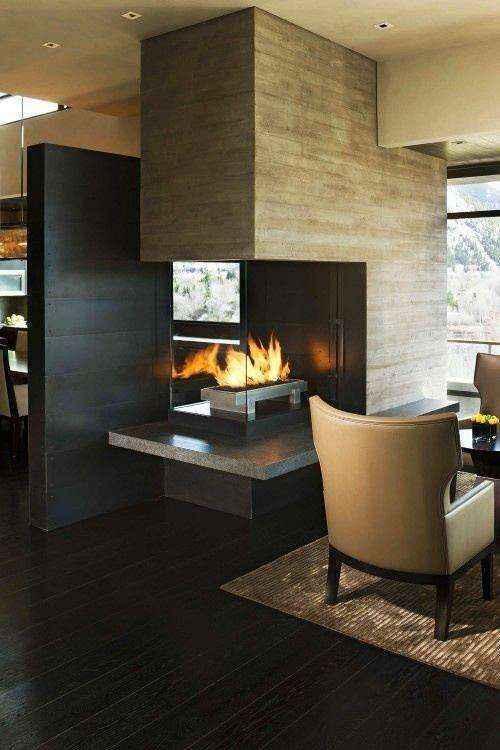 1-8-wood-burning-fireplace-ideas-decoration-in-interior-design-concrete-finishing-in-contemporary-style-dining-room-arm-chair1 | Дровяные камины: обзор материалов и лучших идей (Часть первая)