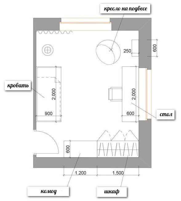 1-school-girls-kids-room-interior-plan-scheme-zoning-two-windows-17-square-meters-rectangular-room-desk-bed-wardrobe-chest-of-drawers-ceiling-swing-chair-ru | Спальня для девочки ученицы начальных классов