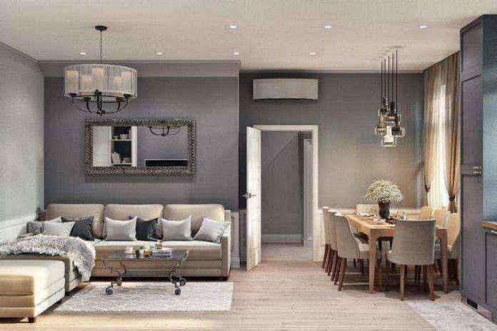 2-3-modern-light-scandinavian-style-interior-open-plan-concept-living-room-dining-area-kitchen-gray-beige-lounge-coffee-table-chairs-pendant-lamps | Стильный таунхаус с дизайном в смешанном стиле в Подмосковье