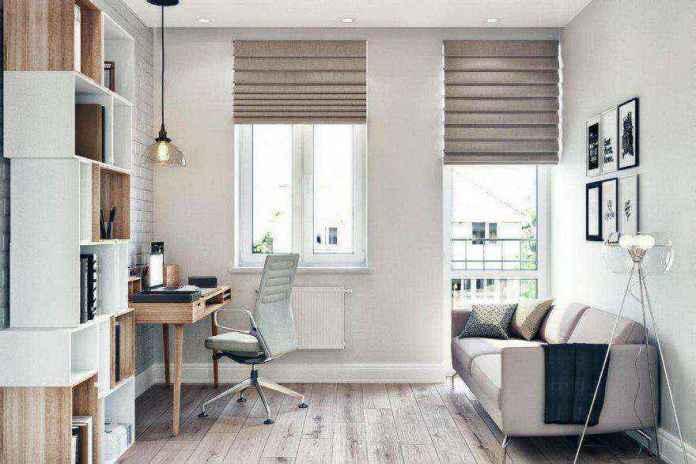 3-2-modern-light-scandinavian-style-interior-study-home-office-work-area-faux-brick-wall-masonry-asymmetrical-shelves-sofa-floor-lamp-roman-blinds-desk-wheeled-chair | Стильный таунхаус с дизайном в смешанном стиле в Подмосковье