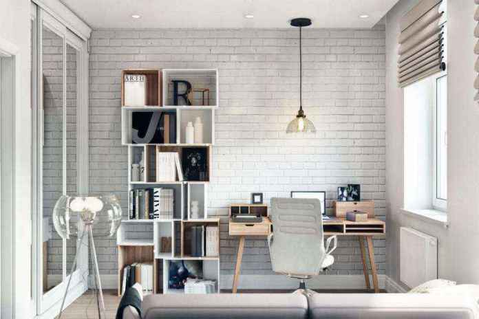 3-3-modern-light-scandinavian-style-interior-study-home-office-work-area-faux-brick-wall-masonry-asymmetrical-shelves-sofa-glass-floor-lamp-roman-blinds-desk-chair-built-in-closet | Стильный таунхаус с дизайном в смешанном стиле в Подмосковье