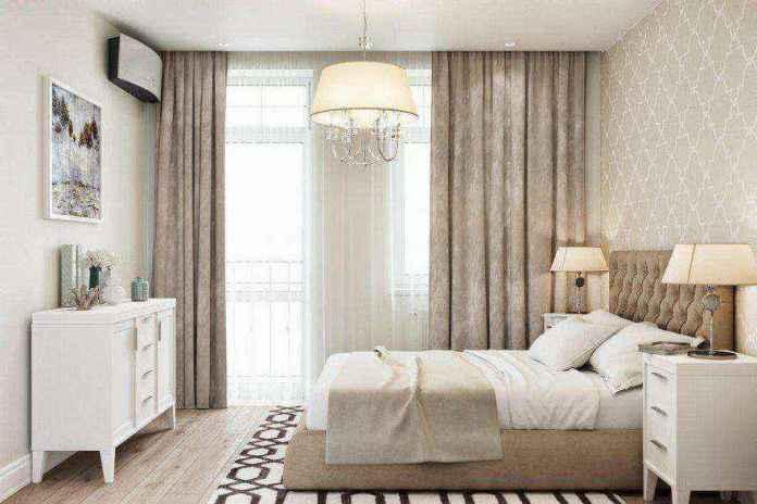 4-1-modern-light-scandinavian-style-interior-bedroom-beige-white-gray-capitone-bed-geometrical-wallpaper-chest-of-drawers-rug-carpet-nightstand-bedside-lamps-air-conditioner | Стильный таунхаус с дизайном в смешанном стиле в Подмосковье