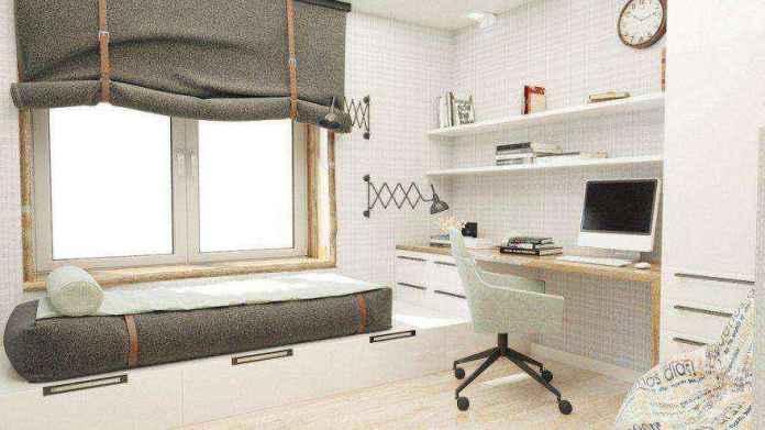 4-1-podium-bed-platform-in-interior-design-teenage-boy-bedroom-light-gray-brown-white-walls-work-study-area-desk-mattress-roman-blinds-sleeping-area-by-the-window-built-in-shelves | Кровати с подиумом в дизайне интерьера: 5 реальных проектов в деталях