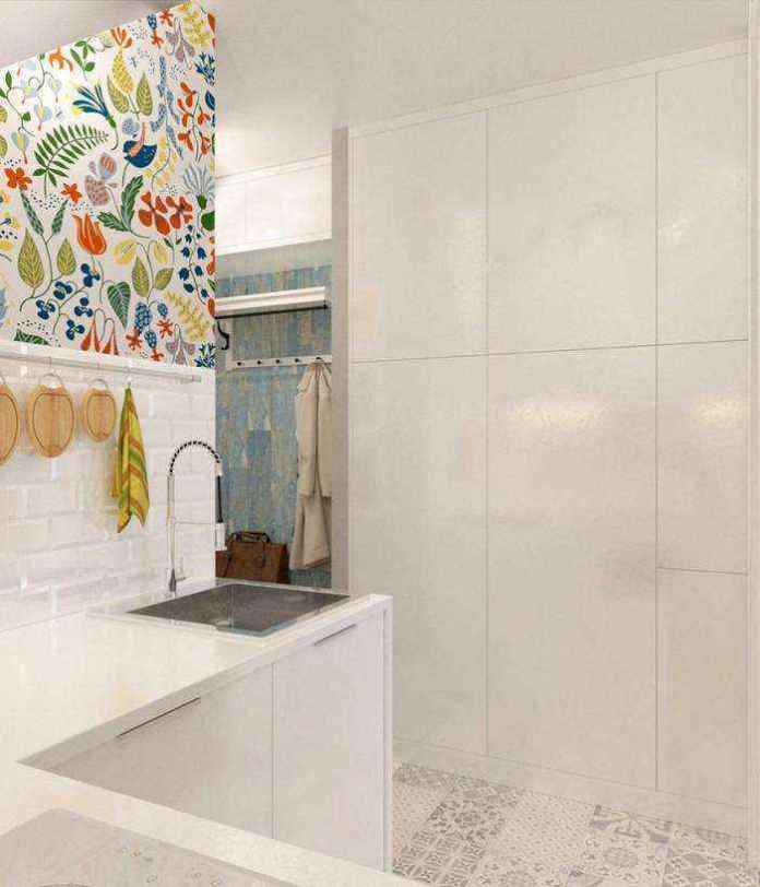 4-light-grayish-blue-studio-apartment-interior-design-in-modern-style-l-shaped-small-kitchen-set-white-cabinets-built-in-closet-floral-wall-tiles-backsplash | Как сделать удобной студию площадью всего лишь 25 квадратных метров? Узкая и маленькая студия