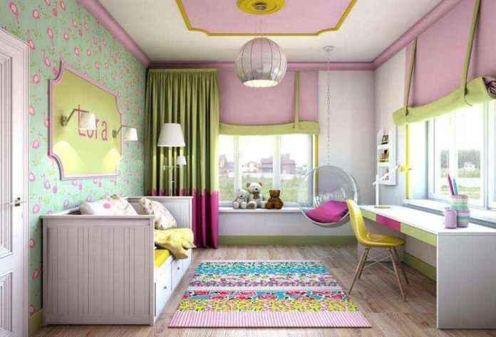 4-light-pink-school-girls-kids-room-interior-with-yellow-accents-white-furniture-desk-bed-carpet-two-windows-roman-blinds-ceiling-swing-chair-moldings | Спальня для девочки ученицы начальных классов
