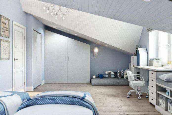 6-3-modern-light-blue-gray-white-scandinavian-style-interior-kids-room-girls-attic-floor-sloped-ceiling-bedroom-desk-chair-mattress-play-area-built-in-closet-chandelier | Стильный таунхаус с дизайном в смешанном стиле в Подмосковье