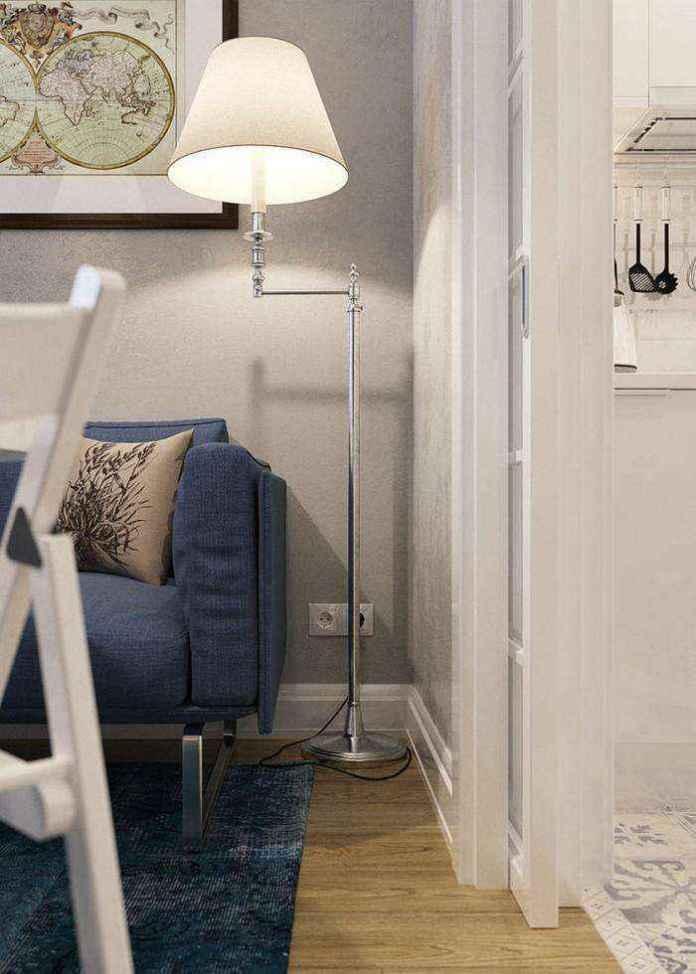 7-1-light-grayish-blue-studio-apartment-interior-design-in-modern-style-floor-lamp-by-bella-figura-sl14-with-rotating-arm-rod-blue-sofa-carpet | Как сделать удобной студию площадью всего лишь 25 квадратных метров? Узкая и маленькая студия