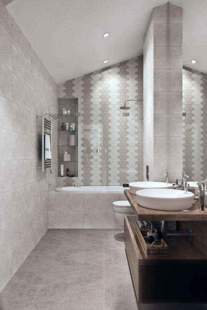 7-1-modern-light-gray-scandinavian-style-interior-bathroom-built-in-shelves-shower-bathtub-double-sink-wash-basins-wooden-countertop-sloped-ceiling-attic-floor-wall-mounted-toilet-wc | Стильный таунхаус с дизайном в смешанном стиле в Подмосковье