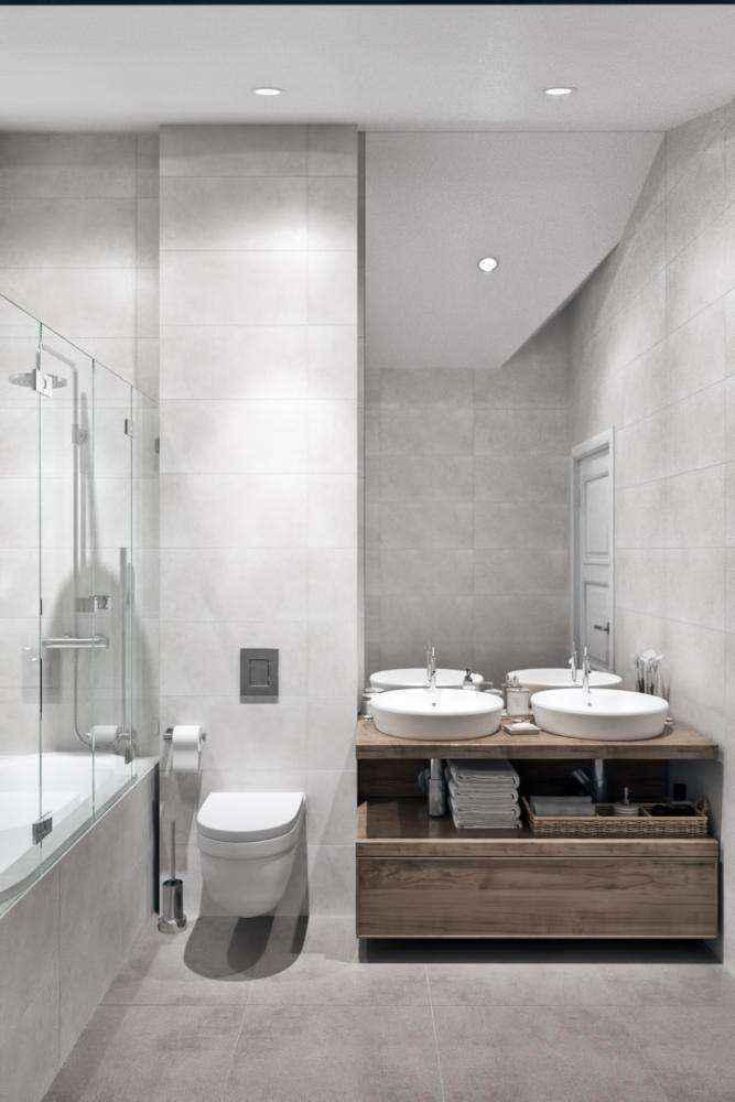 7-2-modern-light-gray-scandinavian-style-interior-bathroom-bathtub-glass-partition-double-sink-wash-basins-wooden-countertop-sloped-ceiling-attic-floor-wall-mounted-toilet-wc | Стильный таунхаус с дизайном в смешанном стиле в Подмосковье