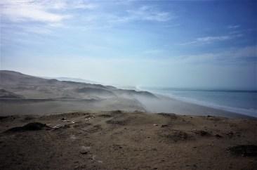 Pacific coast with neblina