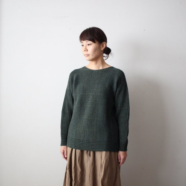 tamaki niime | 玉木新雌 PO knit M wool95% cotton5% #dark green