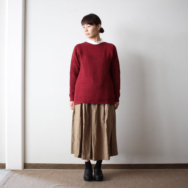 PO knit M wool95% cotton5% #burgundy