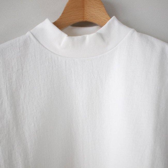 度詰め吊り天竺 MOCK NECK S/T #white