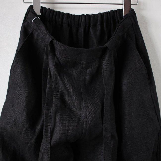 TUCKED WIDE PANTS #black