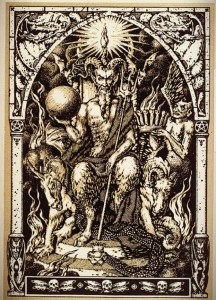 devil and demons woodcut