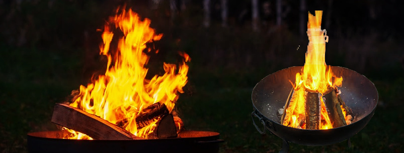 Campfire in a firebowl, autumn evening, birch forest in the background