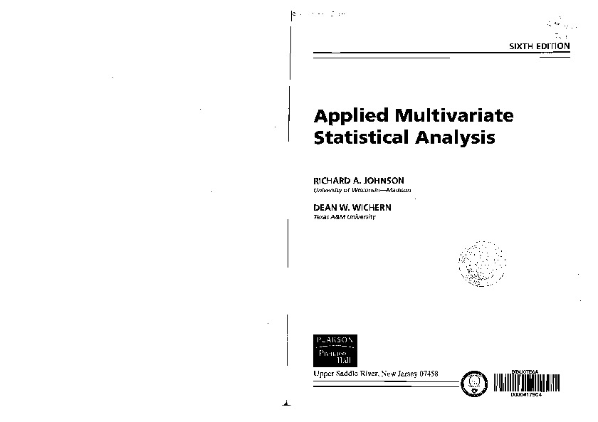 SOLUTION OF APPLIED MULTIVARIATE STATISTICAL ANALYSIS