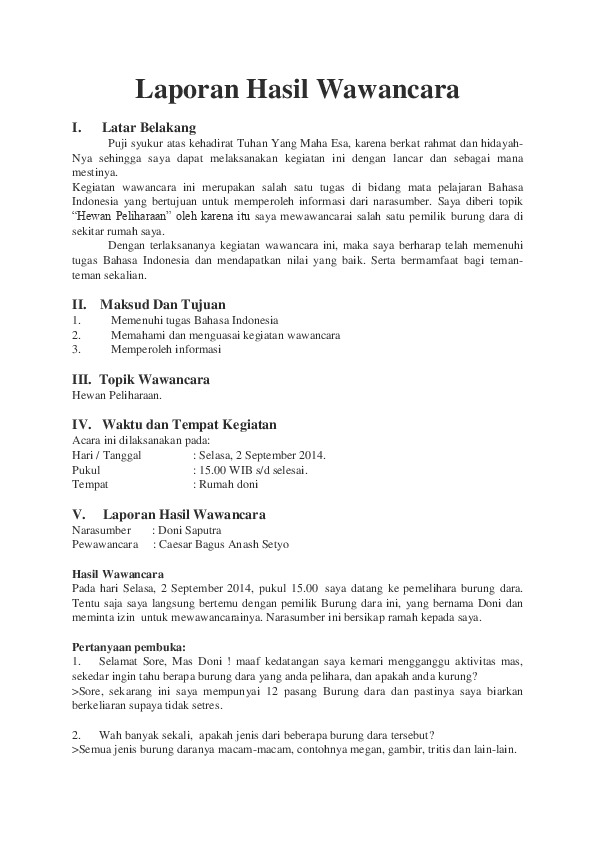 Laporan Wawancara : laporan, wawancara, Report, Laporan, Hasil, Wawancara, [pld4r8ex7vln]