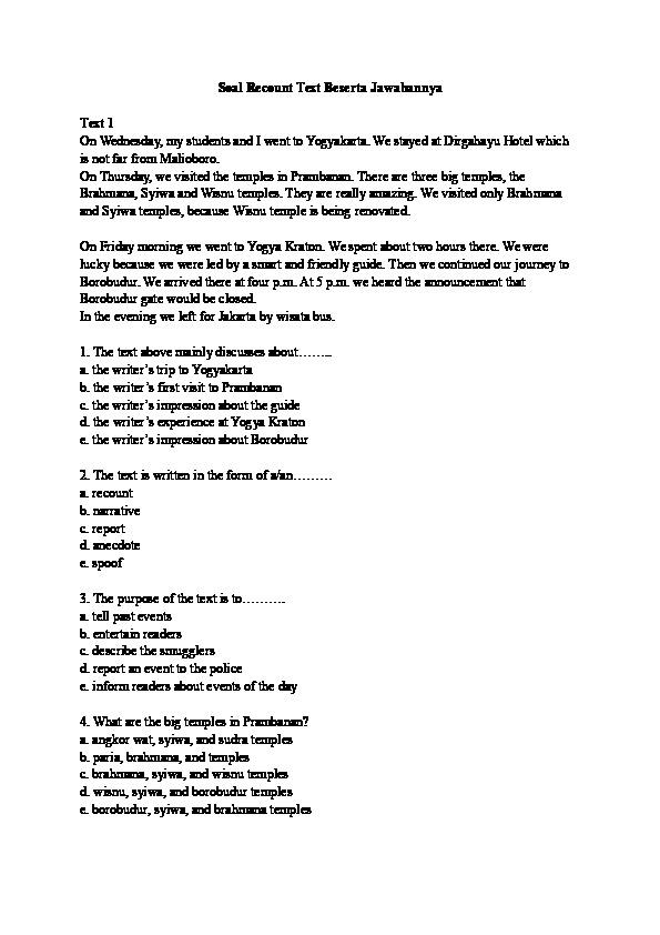 Contoh Soal Recount Text Pilihan Ganda Beserta Jawabannya Sma : contoh, recount, pilihan, ganda, beserta, jawabannya, Contoh, Recount, Jawabannya, Barisan