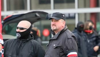 """""""Urgestein"""" der rechten Szene: Martin Kiese bei einer Kundgebung der Partei """"die Rechte"""" am 25.01.2021in Braunschweig."""