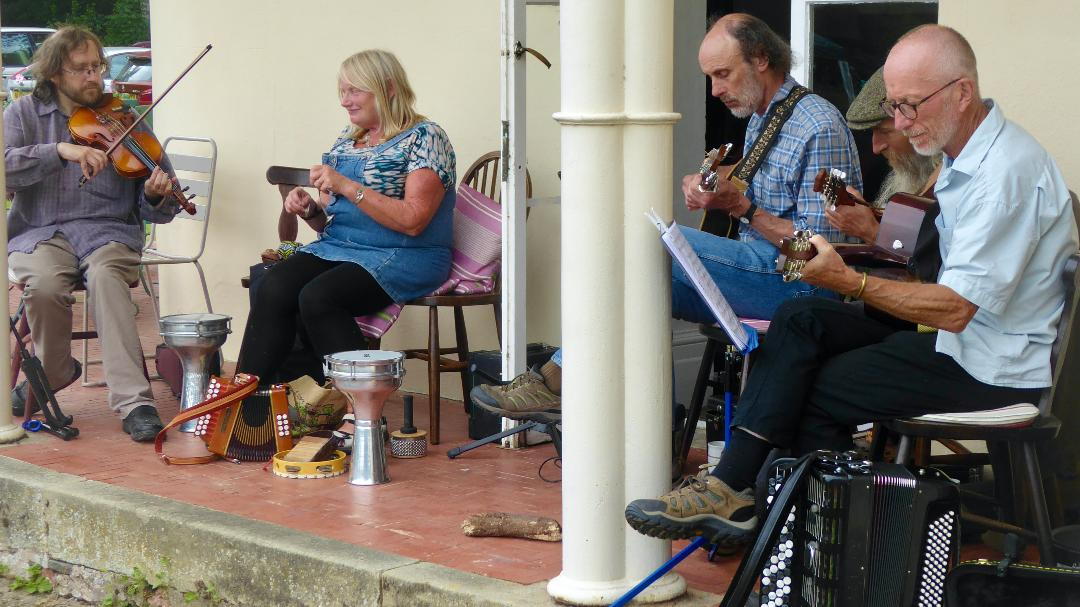 Local musicians playing at the Community picnic