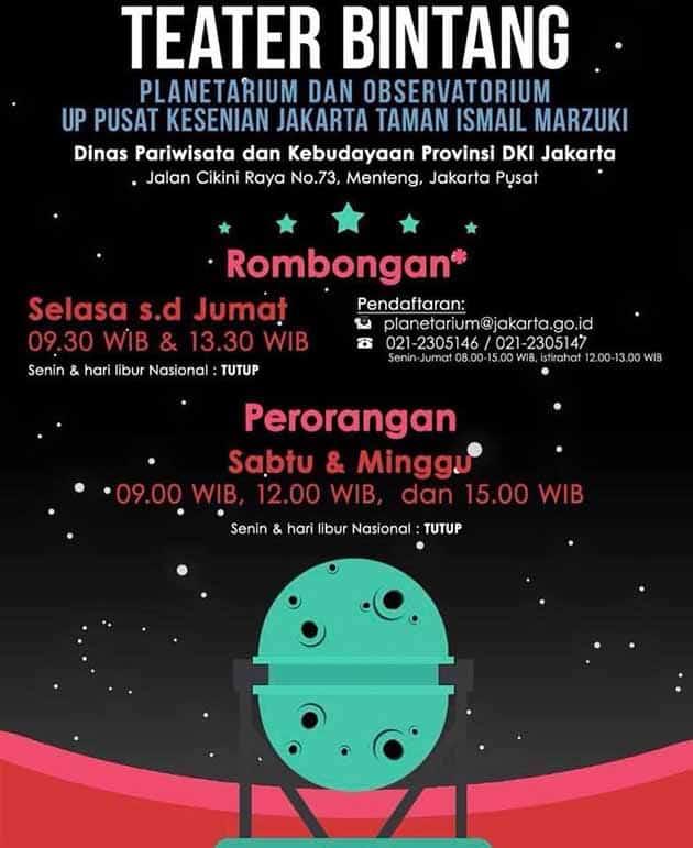 Harga Tiket Masuk Planetarium Jakarta Lokasi Jadwal