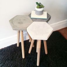 Concrete side table - http://thediscoverytales.com.au/product/28/Hexagon-Concrete-Stool-.htm