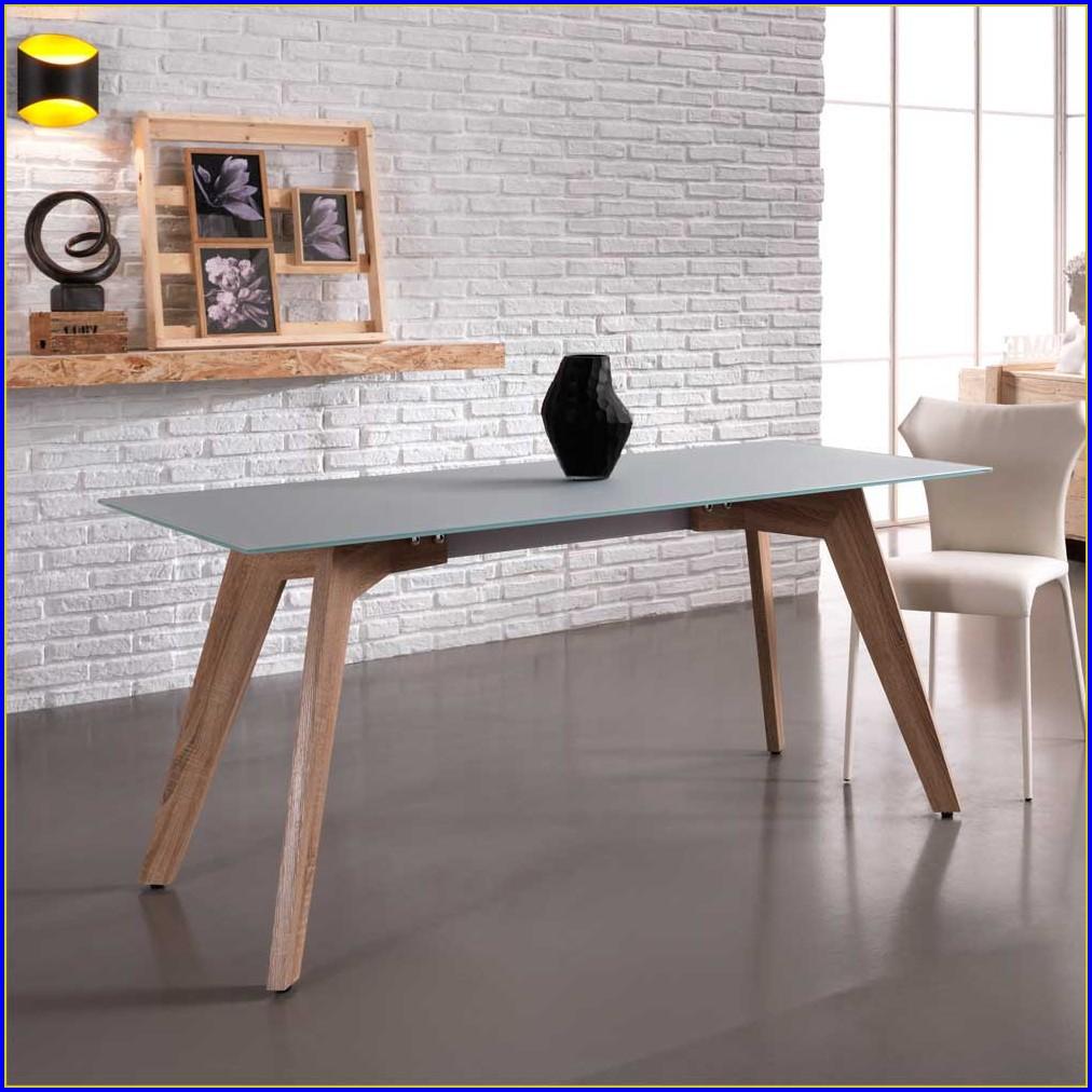 Esstisch Mit Glasplatte Und Schublade