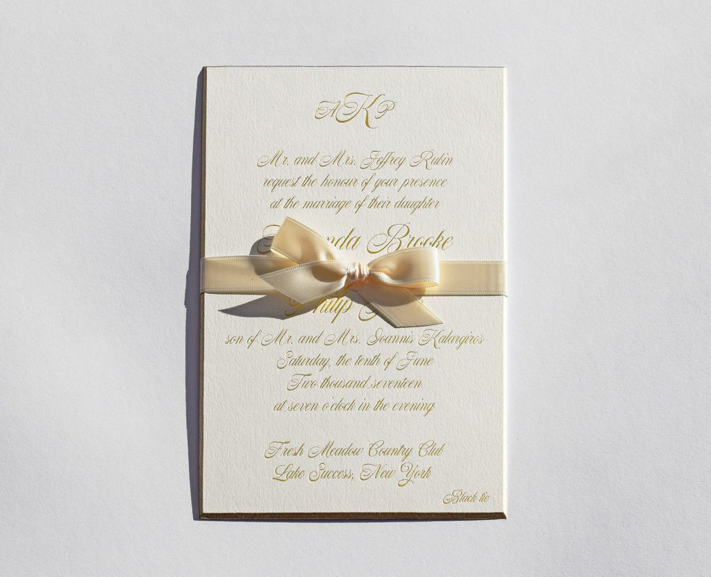 Davenport Wedding Invite with Ribbon