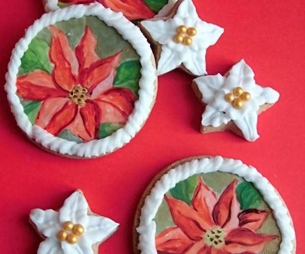 Euphorbia, Poinsettia o Stella di Natale, dipinta sui biscotti