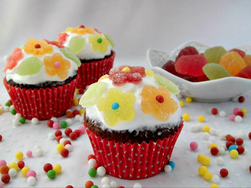 Cupcake con caramelle gelée