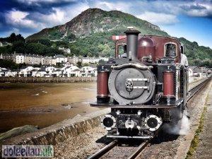 The Ffestiniog Railway (Merddin Emrys Loco) on The Cob in Porthmadog