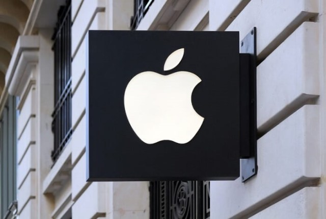 apple logo on street