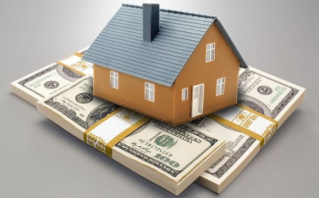an illustration of a house on a pile of money on a gray background