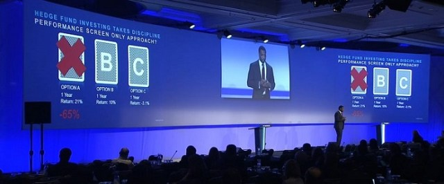 a speaker during a hedge fund conference