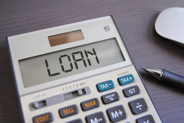 pocket calculator with the text loan