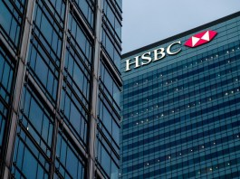 hsbc logo on mdoern business office building